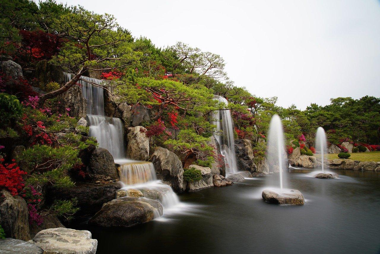 azalea, waterfall, garden-5120368.jpg